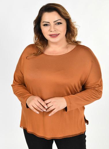 Optique Knitwear Düz Kayık Yaka Yarasa Uzun Kol Viskon Bluz Camel